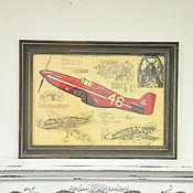 Картины и панно ручной работы. Ярмарка Мастеров - ручная работа Ретро постер истребитель самолет P51 Mustang второй мировой войны. Handmade.