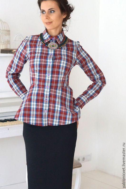 Блузки ручной работы. Ярмарка Мастеров - ручная работа. Купить Рубашка хлопковая. Handmade. Бордовый, в клеточку, рубашка из хлопка