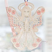 Сувениры и подарки handmade. Livemaster - original item Angel with candles pendant for luck embroidered souvenir. Handmade.