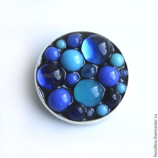 """Броши ручной работы. Ярмарка Мастеров - ручная работа. Купить Брошь """"Пузырьки"""" (синий цвет). Handmade. Синий, стекло"""