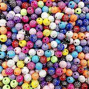 Материалы для творчества ручной работы. Ярмарка Мастеров - ручная работа Бусины 8 мм декоративные в серебряными точечьками. Handmade.