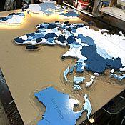 Картины и панно handmade. Livemaster - original item MULTI-LAYER MAP MADE OF WOOD
