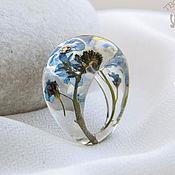 Украшения handmade. Livemaster - original item Transparent ring with real flowers and herbs from jewelry resin.. Handmade.