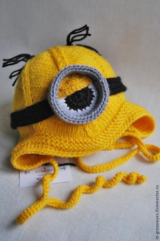 """Для новорожденных, ручной работы. Ярмарка Мастеров - ручная работа. Купить Шапочка """"Mini minion"""". Handmade. Желтый, шапочка миньон"""