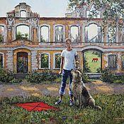 handmade. Livemaster - original item A boy with a dog. 80h90 cm. Handmade.