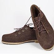 """Обувь ручной работы. Ярмарка Мастеров - ручная работа Валяные туфли для улицы и помещений """"Брауни. Горький шоколад"""". Handmade."""