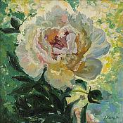 Картины и панно handmade. Livemaster - original item The picture of the peony garden, the peony in the sun oil on canvas. Handmade.