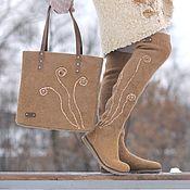 """Обувь ручной работы. Ярмарка Мастеров - ручная работа Комплект - ботфорты и сумка из войлока """"Золотистые травы"""". Handmade."""