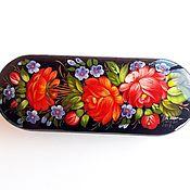 Сумки и аксессуары handmade. Livemaster - original item PInk-red floral glasses case hard, russian handmade eyeglass case. Handmade.
