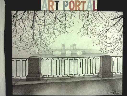 картина `Туманный Петербург.Старо-Калинкин мост.`