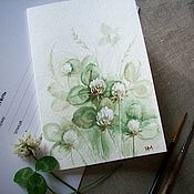 Открытки handmade. Livemaster - original item Postcard White clover. watercolor.. Handmade.