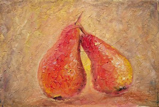 Натюрморт ручной работы. Ярмарка Мастеров - ручная работа. Купить Желто-красные груши картина маслом на холсте (стиль фреска)  для кухни. Handmade.