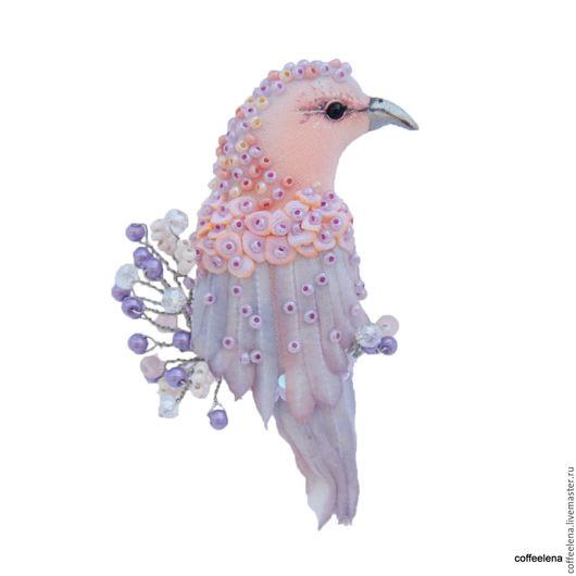 Броши ручной работы. Ярмарка Мастеров - ручная работа. Купить Текстильная брошь птица «Гортензия». Вышитая бисером брошь.. Handmade.