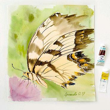 Картины и панно ручной работы. Ярмарка Мастеров - ручная работа Картина с бабочкой и розовым цветком акварелью абстракция. Handmade.