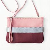 handmade. Livemaster - original item Клатч бордовый CarryMe Бордовая сумка через плечо розовая Эко-кожа. Handmade.
