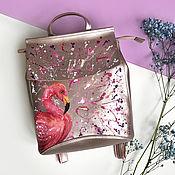Сумки и аксессуары handmade. Livemaster - original item Pink leather backpack with hand-painted Flamingos. Handmade.