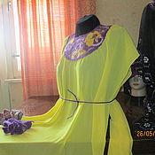 Одежда ручной работы. Ярмарка Мастеров - ручная работа туника из шифона ,отделка фиолетовые  цветы- шерстяная акварель. Handmade.