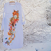 Одежда handmade. Livemaster - original item warm long white dress Fox joy. Handmade.