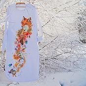 Одежда ручной работы. Ярмарка Мастеров - ручная работа тёплое длинное белое платье Лисьи радости. Handmade.