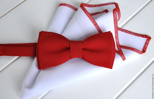 Галстук-бабочка мужской Красный с белым платочком - контрастный стильный аксессуар ручной работы.