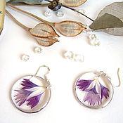 Украшения handmade. Livemaster - original item Transparent Earrings with Real Purple Cornflower Petals. Handmade.