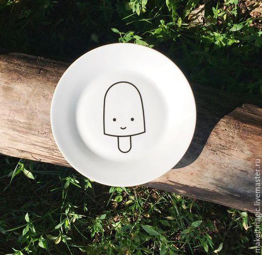 Тарелки ручной работы. Ярмарка Мастеров - ручная работа. Купить Тарелка My Little Ice Cream. Handmade. Белый