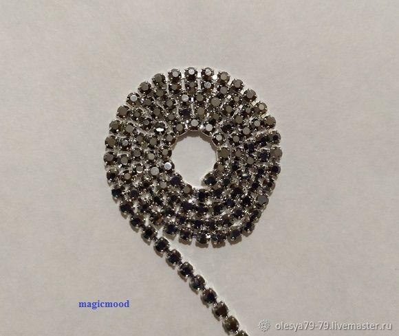 10 cm hot fix tape 2 mm Hematite rim silver, Beads1, Chelyabinsk,  Фото №1