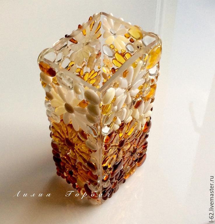 ваза из стекла, фьюзинг   Медовая