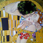 Pictures handmade. Livemaster - original item oil painting the Kiss. A free copy of the works of Gustav Klimt. Handmade.