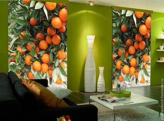 """Текстиль, ковры ручной работы. Ярмарка Мастеров - ручная работа. Купить Штора """"Апельсин"""". Handmade. Рыжий, штора, шторы для спальни"""