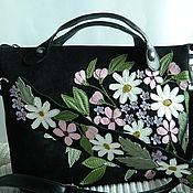 Сумки и аксессуары handmade. Livemaster - original item Bag leather. Crossbody bag. Bag with applique. Spring black. Handmade.