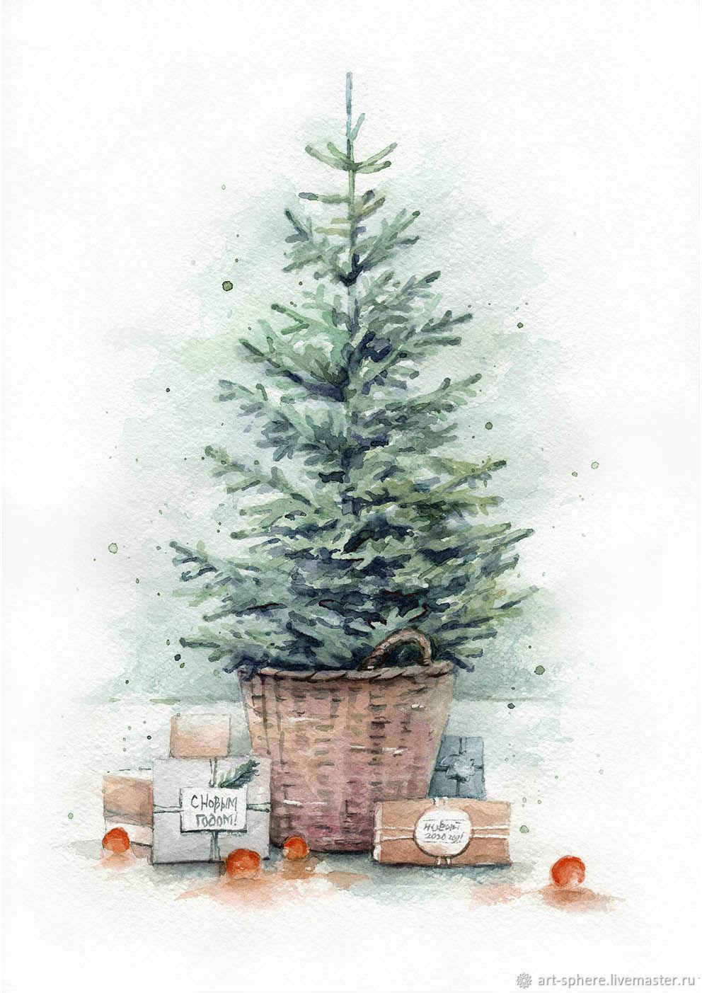 такому выводу постер акварельный елка небольшая