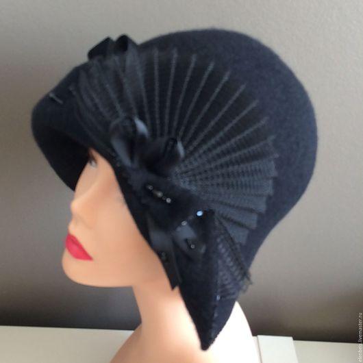 Шляпа `Плиссированный веер` черная, размер 56-57