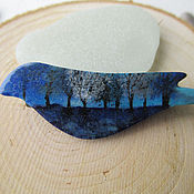 Украшения ручной работы. Ярмарка Мастеров - ручная работа Брошь птица Синий лес внутри. Handmade.