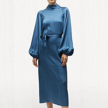 Одежда ручной работы. Ярмарка Мастеров - ручная работа Синее платье вечернее 789В. Handmade.
