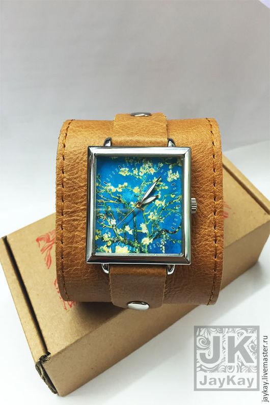 """Часы ручной работы. Ярмарка Мастеров - ручная работа. Купить Часы наручные JK """"«Цветущий миндаль»"""" Ван Гог. Handmade."""