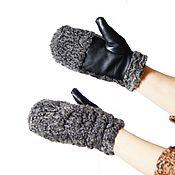 Аксессуары handmade. Livemaster - original item Stylish mittens made of genuine leather and astrakhan fur. Handmade.