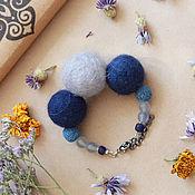 Украшения handmade. Livemaster - original item Bracelet made of felt brook Blue felted wool felted beads. Handmade.
