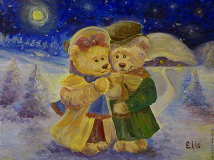 Животные ручной работы. Ярмарка Мастеров - ручная работа. Купить Картина маслом Рождество. Handmade. Синий, подарок, картина в подарок