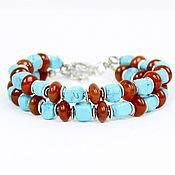 Украшения handmade. Livemaster - original item Bracelet of natural stones: turkvenit and carnelian. Handmade.