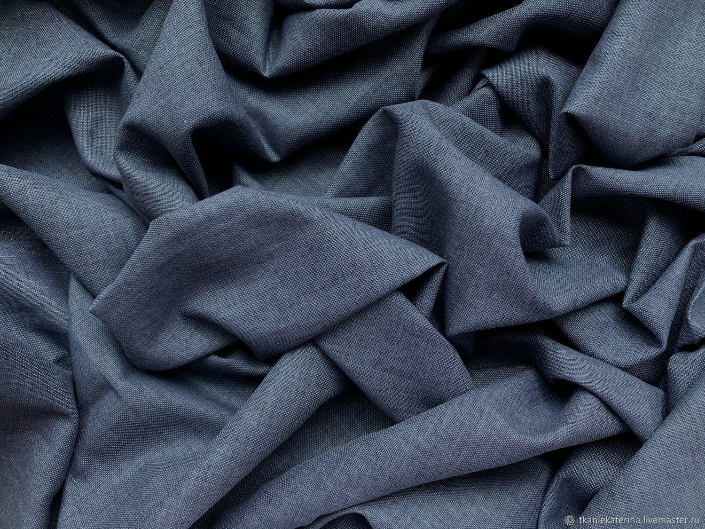 Ткань Лён с Шёлком Тёмно-Синий Италия, Ткани, Москва,  Фото №1