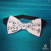 Аксессуары handmade. Livemaster - original item Tie with music notes Musician / black and white butterfly music. Handmade.