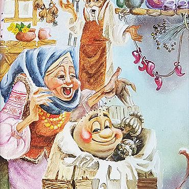 Картины и панно ручной работы. Ярмарка Мастеров - ручная работа Сказка Колобок картина маслом. Handmade.