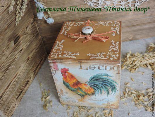"""Корзины, коробы ручной работы. Ярмарка Мастеров - ручная работа. Купить Короб для кухни """"Птичий двор"""". Handmade. Рыжий, петухи"""