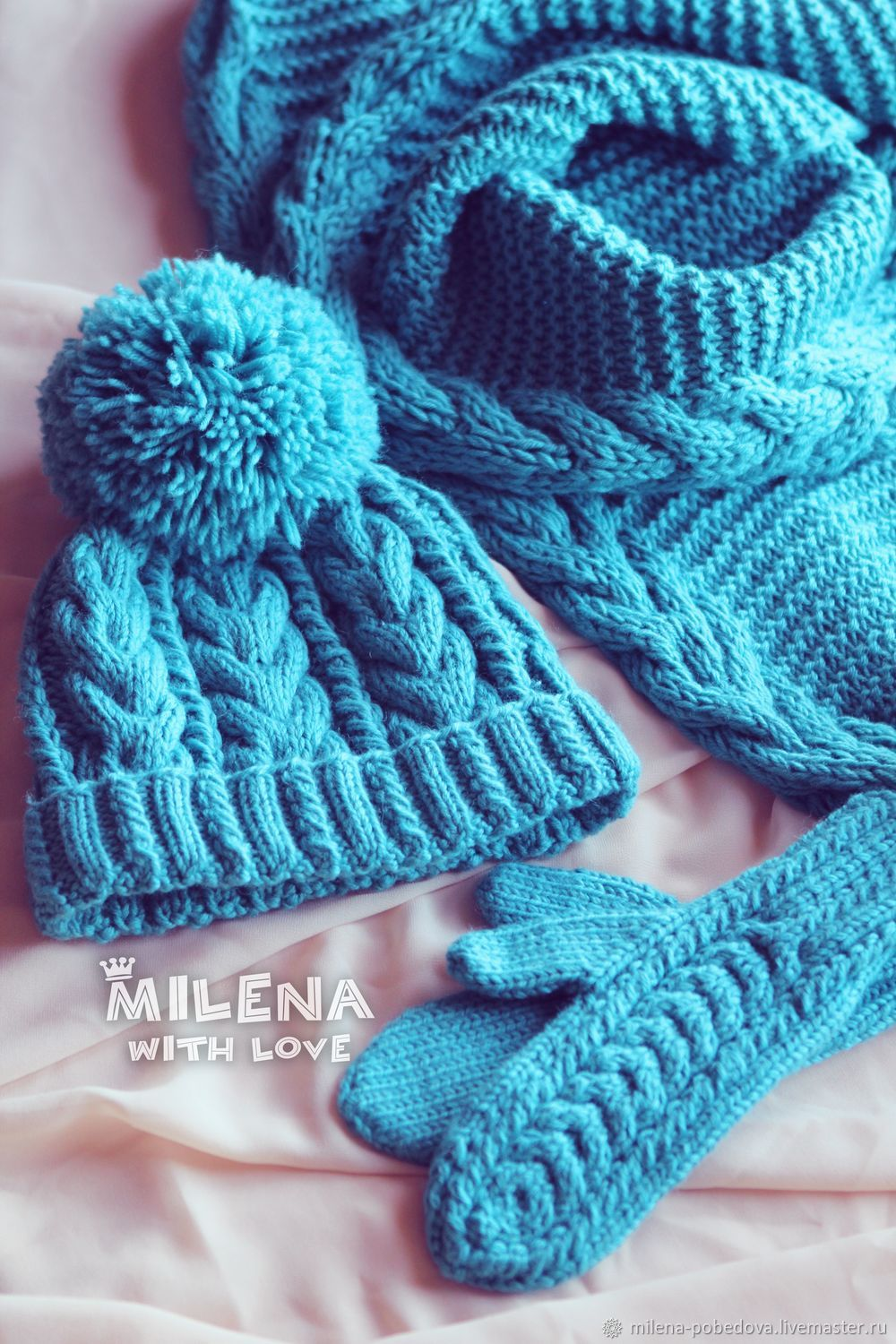 Set knitted Dusty Turquoise, hat, scarf and mittens, Headwear Sets, Minsk,  Фото №1