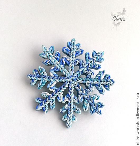 """Броши ручной работы. Ярмарка Мастеров - ручная работа. Купить Брошь """"Снежинка"""" из полимерной глины. Handmade. Голубой, Новый Год"""