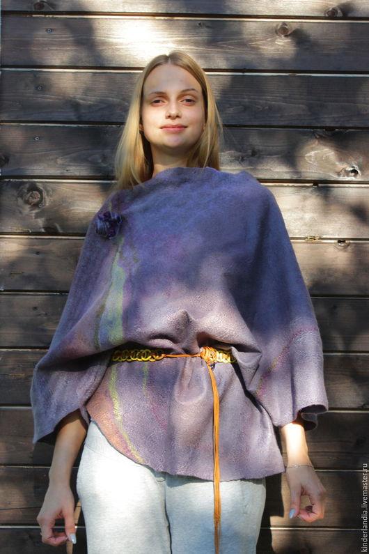 Блузки ручной работы. Ярмарка Мастеров - ручная работа. Купить Блуза войлочная Лавандовые поля. Handmade. Комбинированный, двухсторонняя блузка