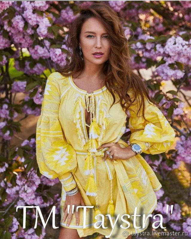 Yellow Dress Boho Chic Dress Embroidered Vyshyvanka Dress, Dresses, Chernovtsy,  Фото №1