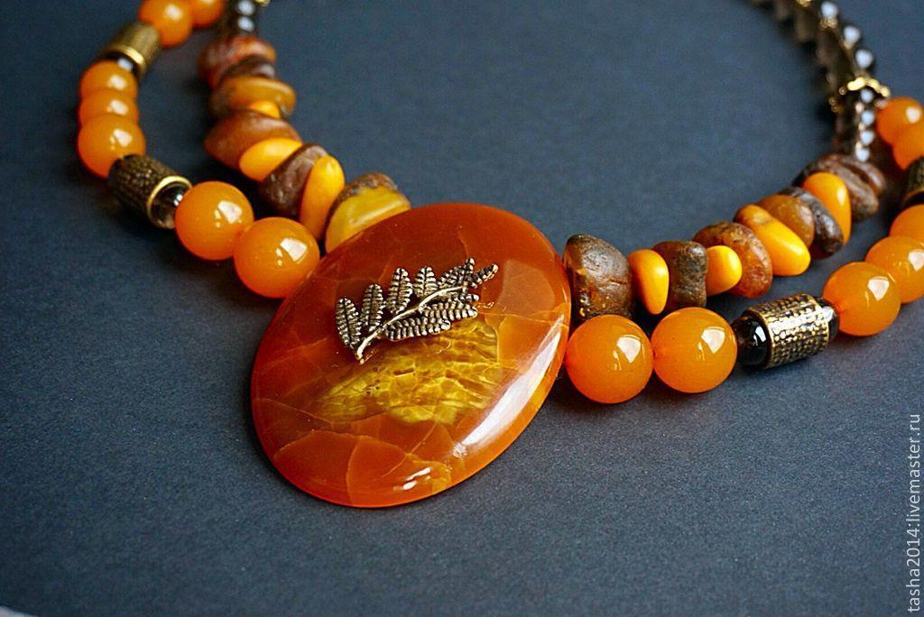 """Колье, бусы ручной работы. Ярмарка Мастеров - ручная работа. Купить Колье """"Волшебный лес"""". Handmade. Оранжевый, лечебный"""