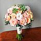 Букет невесты из пионовидных роз пыльно-розового цвета